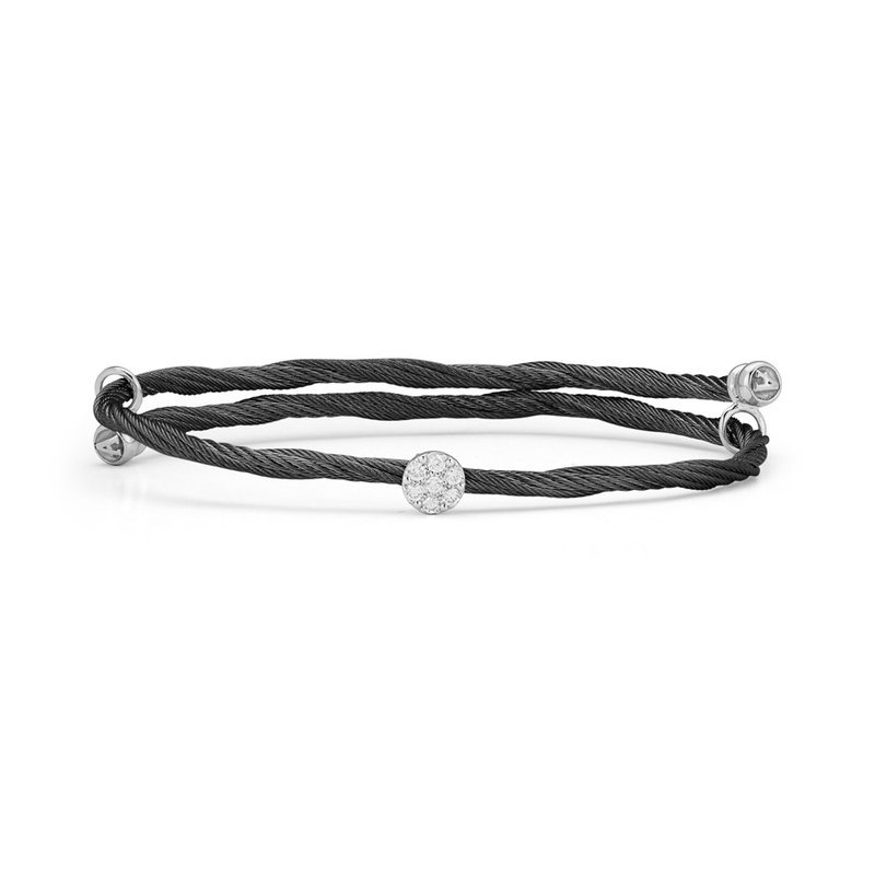 ALOR Alor Black Cable Flex Size Bracelet With Round Diamond Station Set In 18Kt White Gold