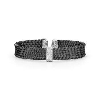 Alor Black Cable Mini Cuff With 18Kt White Gold &Amp; Diamonds