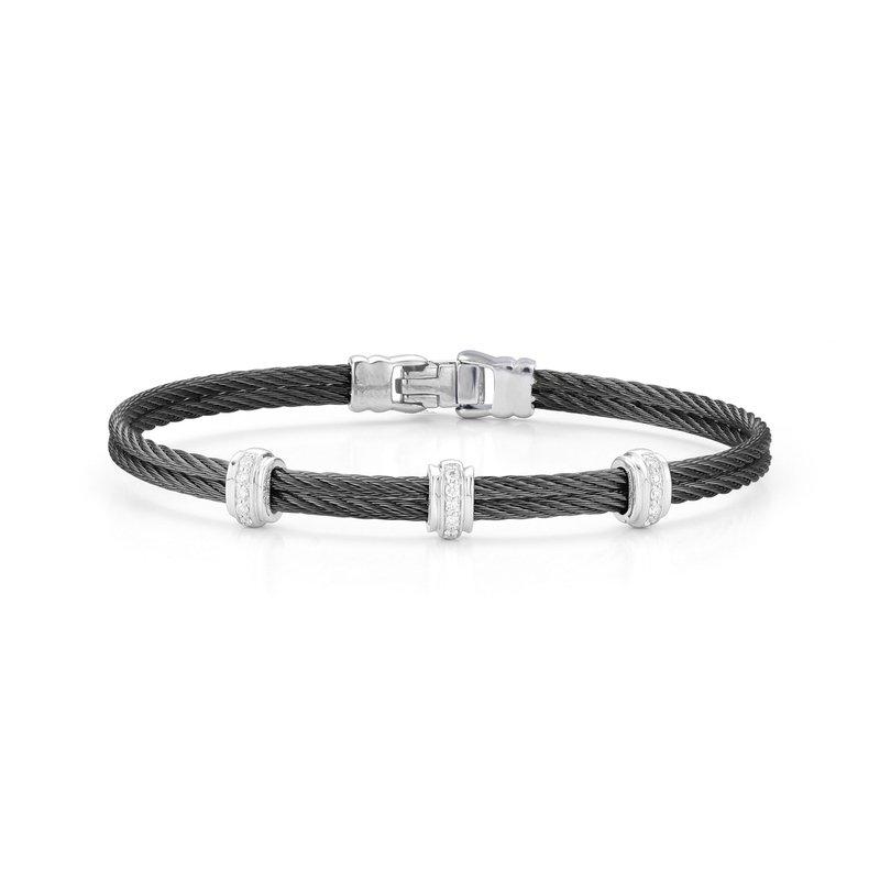 ALOR Black Cable Fused Bracelet With 18Kt White Gold & Diamonds