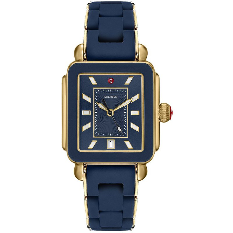 MICHELE Sport Deep Blue Dial Gold Watch