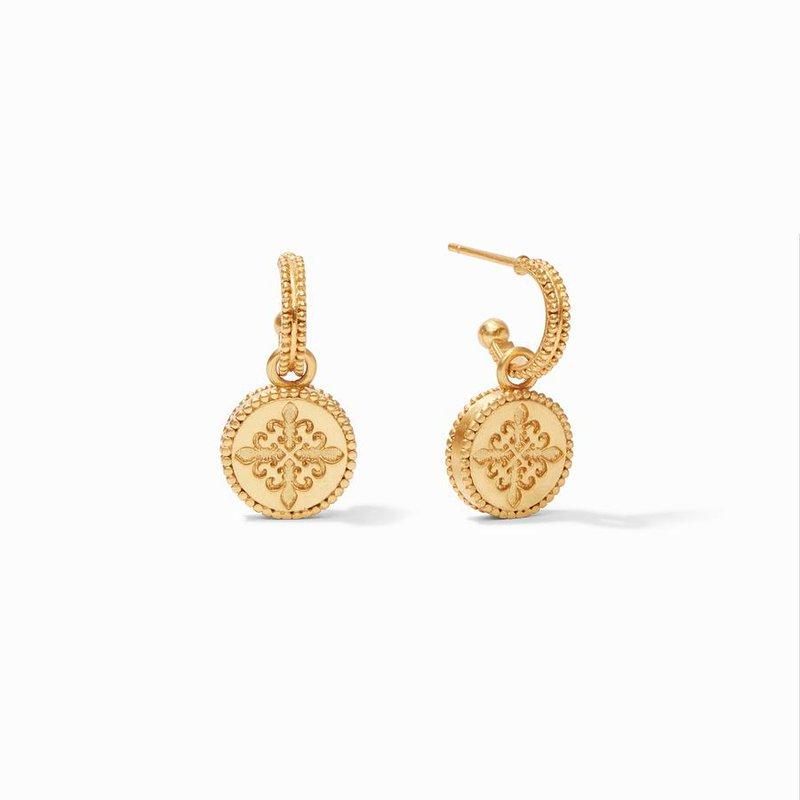 Julie Vos L Fleur-De-Lis Hoop & Charm Earring