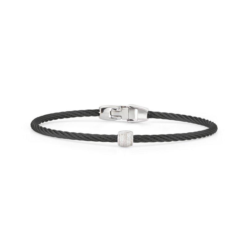 ALOR Black Cable Single Station Stackable Bracelet With 18Kt White Gold & Diamonds
