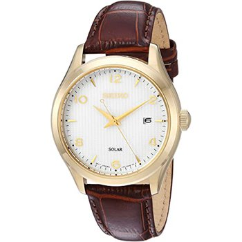 White Dial Brown Leather Men'S Watch