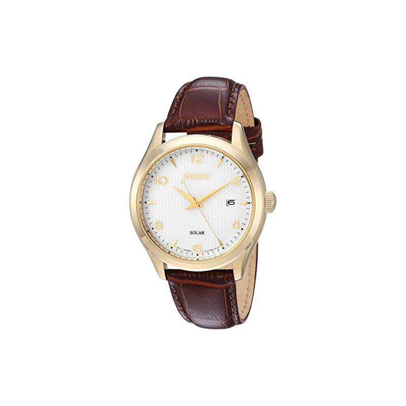 Seiko White Dial Brown Leather Men'S Watch