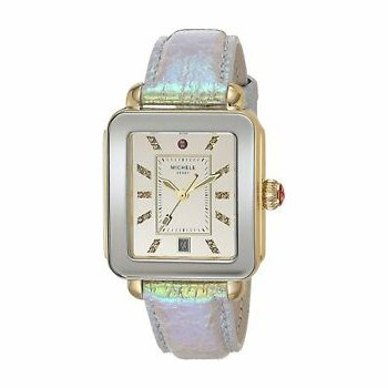 Deco Sport Gold-Tone Topaz Leather Strap
