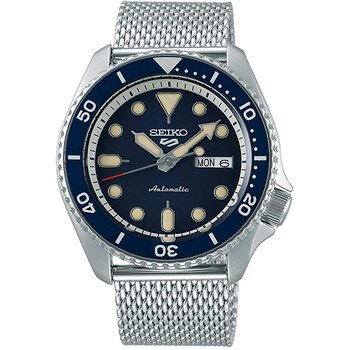 Seiko 5 Sports 24-Jewel Automatic Watch With Blue Dial And Mesh Bracelet #Srpd71