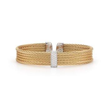 Alor Yellow Cable Mini Cuff With 18Kt White Gold &Amp; Diamonds