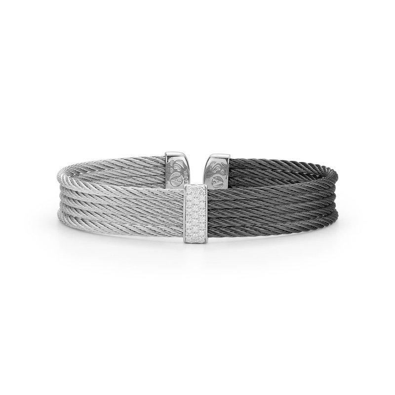 ALOR Alor Black & Grey Cable Medium Colorblock Cuff With 18Kt White Gold & Diamonds
