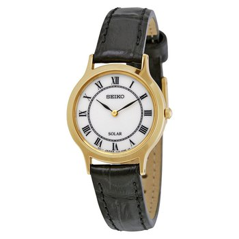 Solar White Dial Black Leather Ladies Watch