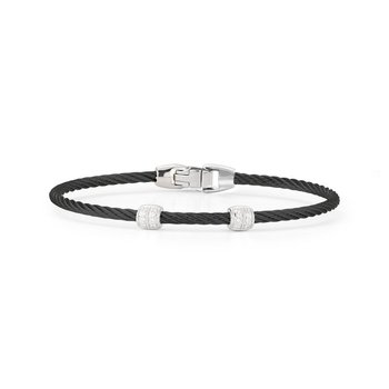 Black Cable Double Station Stackable Bracelet With 18Kt White Gold &Amp; Diamonds