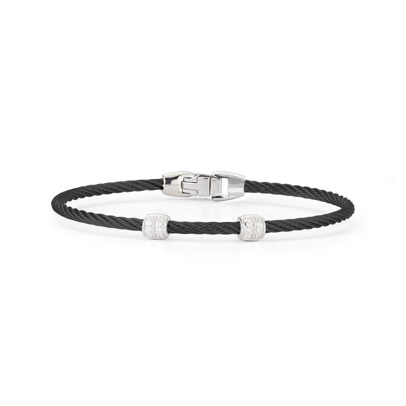 ALOR Black Cable Double Station Stackable Bracelet With 18Kt White Gold &Amp; Diamonds