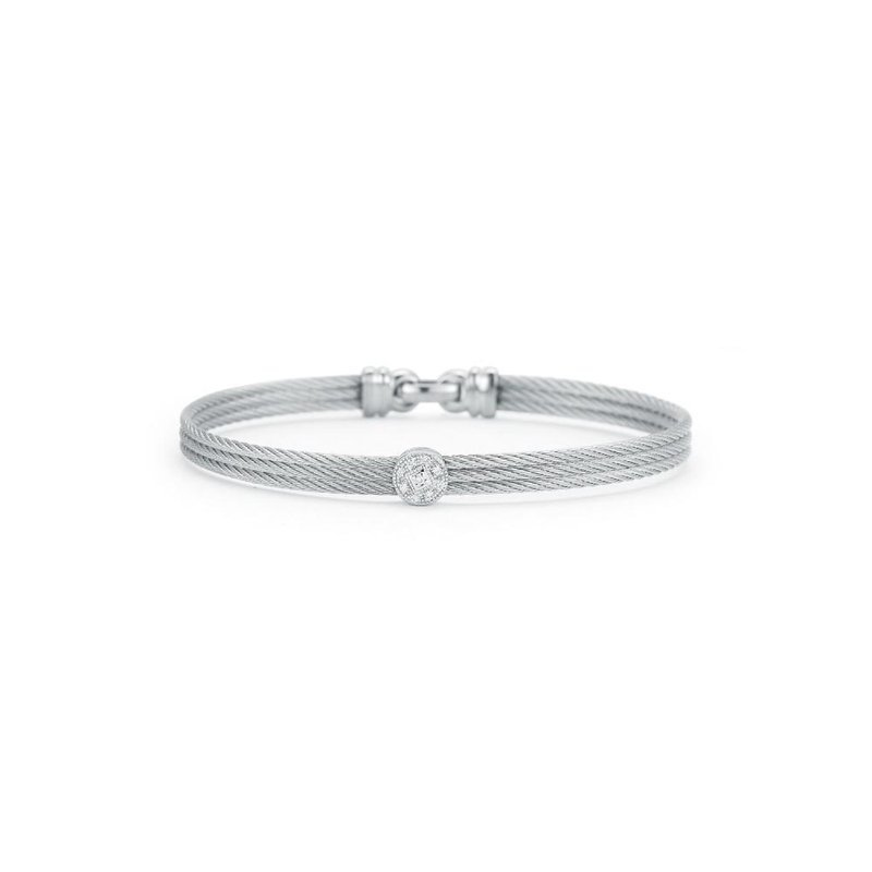 ALOR Alor Grey Cable Classic Stackable Bracelet With Single Round Station Set In 18Kt White Gold