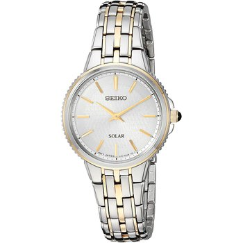 Solar Two Tone Stainless Steel Silver Dial Women'S Quartz Watch