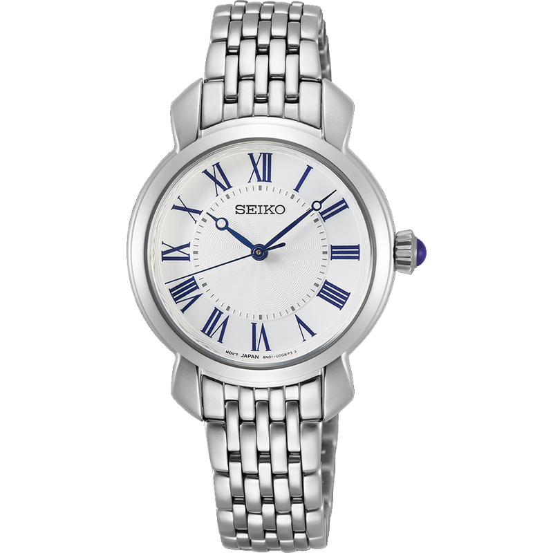 Seiko Ladies Quartz Dress Watch With White Dial, Blue Hands And Numerals