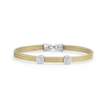 Yellow Cable Classic Stackable Bracelet With Double Round Station Set In 18Kt White Gold