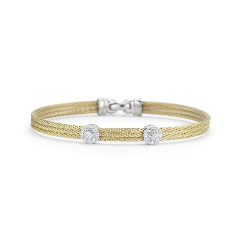 ALOR Yellow Cable Classic Stackable Bracelet With Double Round Station Set In 18Kt White Gold