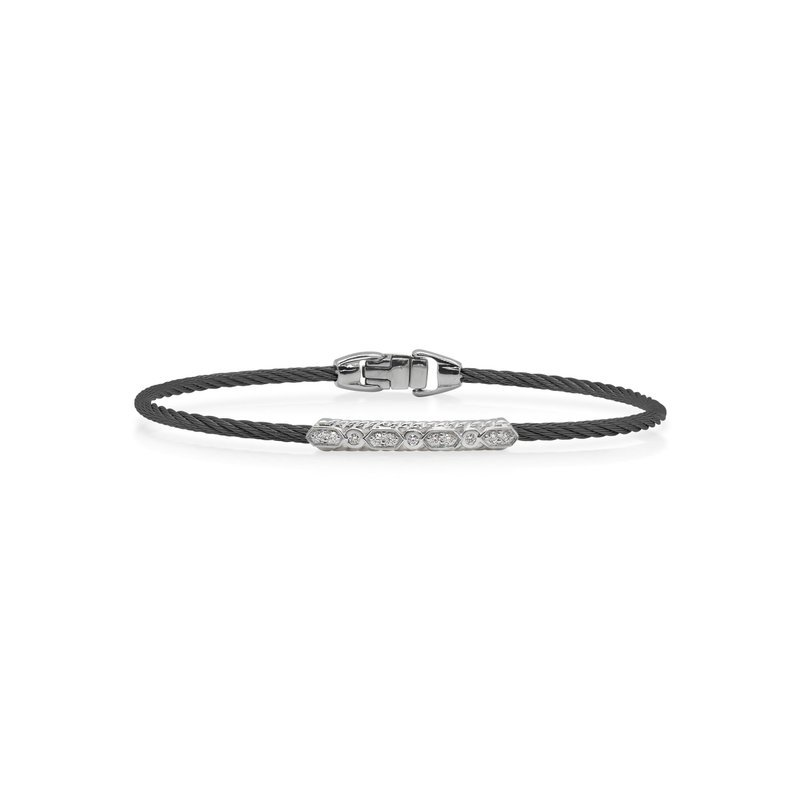 ALOR Black Cable Delicate Twist Bracelet With 18Kt White Gold &Amp