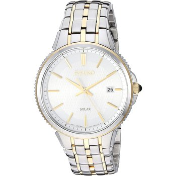 Solar Silver Dial Two-Tone Men'S Watch