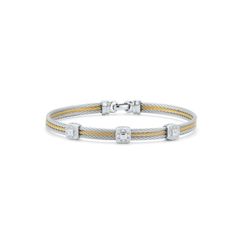ALOR Alor Grey & Yellow Cable Classic Stackable Bracelet With Triple Square Station Set In 18Kt White Gold