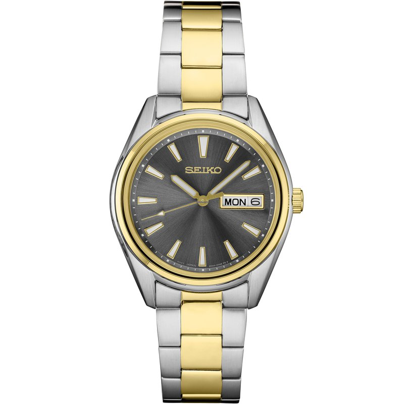 Seiko Essentials Black Analog Dial Date Display Two-Tone Stainless Band Men'S Watch