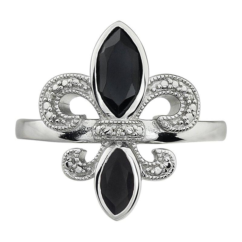 Ron's  Diamond, Onyx Gemstone Fleur De Lis Ring