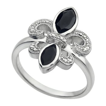 Diamond, Onyx Gemstone Fleur De Lis Ring