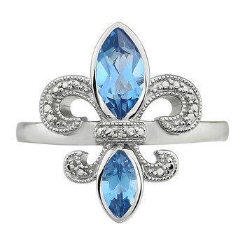 Diamond, Aquamarine Gemstone Fleur De Lis Ring