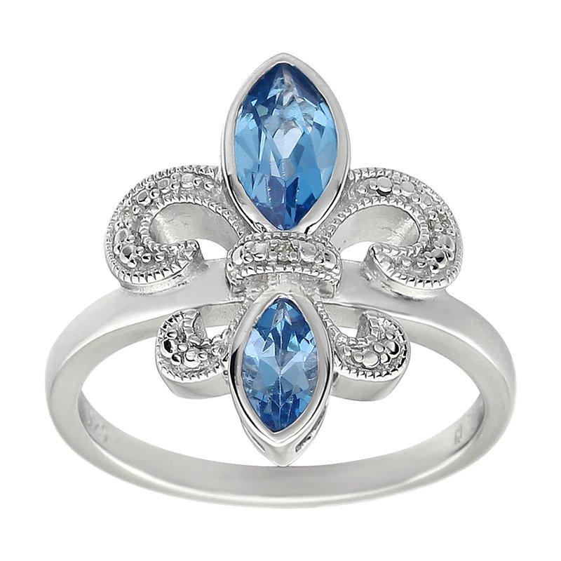 Ron's  Diamond, Aquamarine Gemstone Fleur De Lis Ring