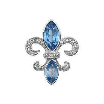 Diamond, Aquamarine Gemstone Fleur De Lis Pendant
