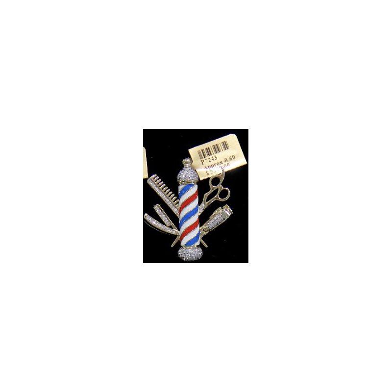 Custom Jewelry Diamond Barber Shop Pole with Tools