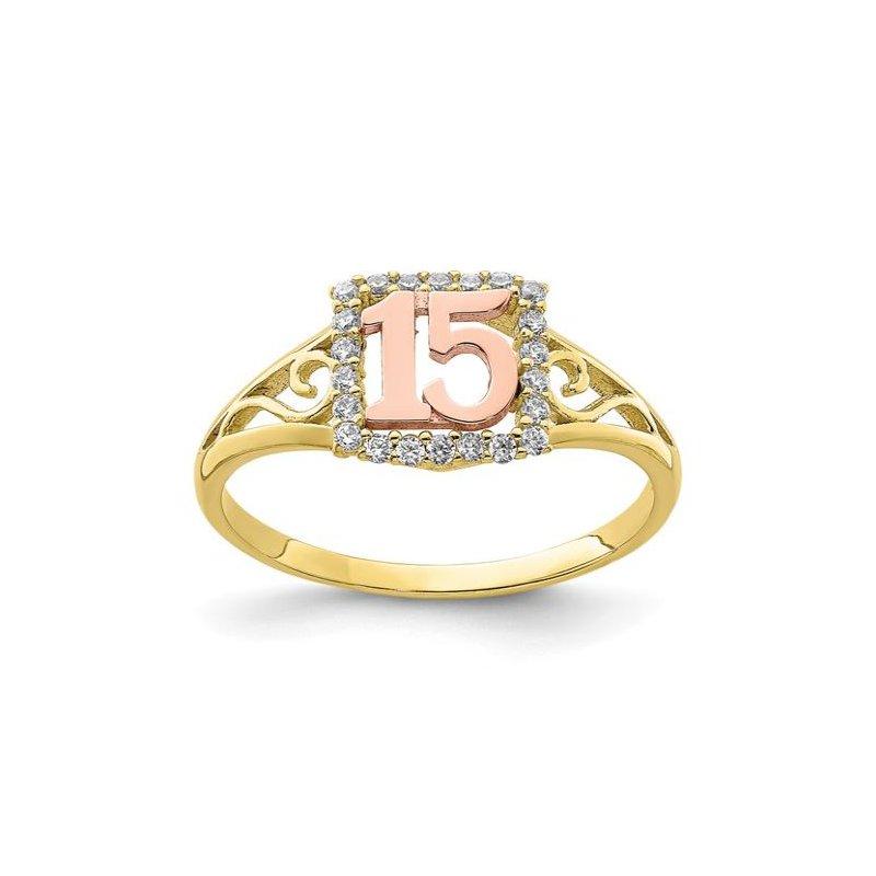 Leslie's 10K Two-Tone CZ 15 Ring