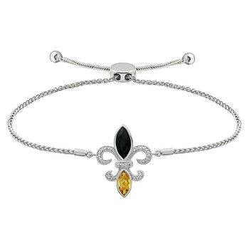 Diamond, Onyx & Citrine Gemstone Fleur De Lis Bracelet
