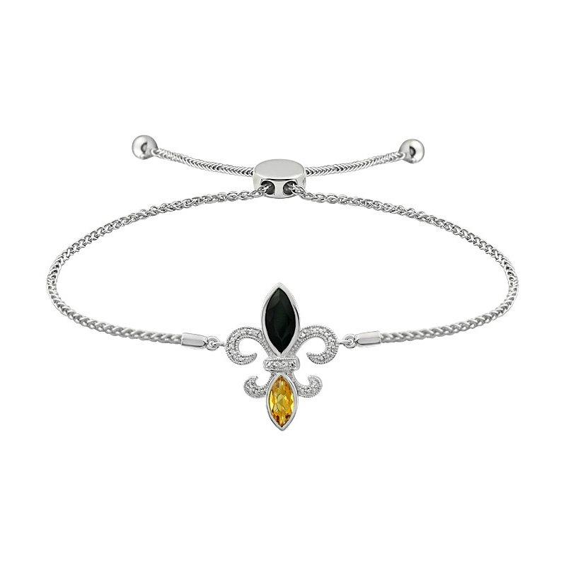 Ron's  Diamond, Onyx & Citrine Gemstone Fleur De Lis Bracelet