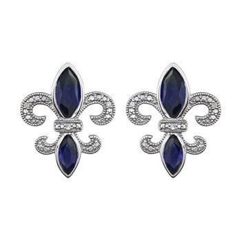 Diamond, Blue Sapphire Fleur de Lis Earrings