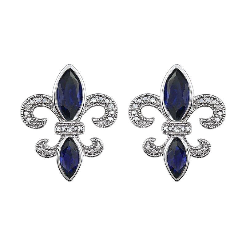 Ron's  Diamond, Blue Sapphire Fleur de Lis Earrings