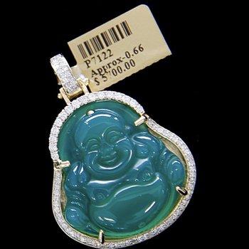 Jade Buddha Pendant with Diamonds
