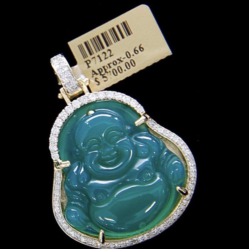 Custom Jewelry Jade Buddha Pendant with Diamonds