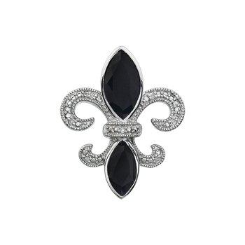 Diamond, Onyx Gemstone Fleur De Lis Pendant