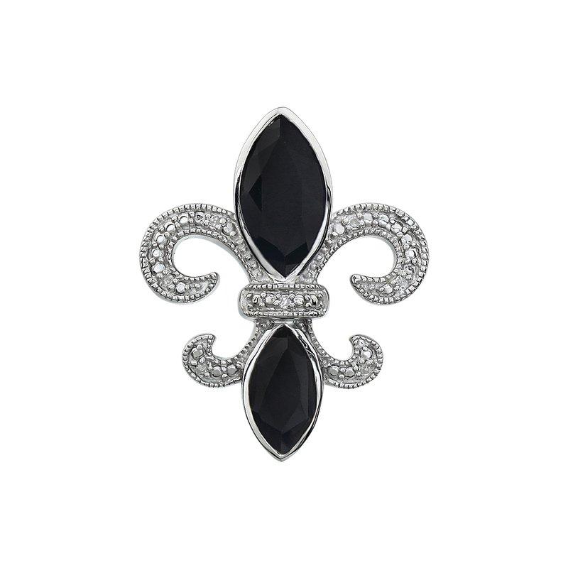 Ron's  Diamond, Onyx Gemstone Fleur De Lis Pendant