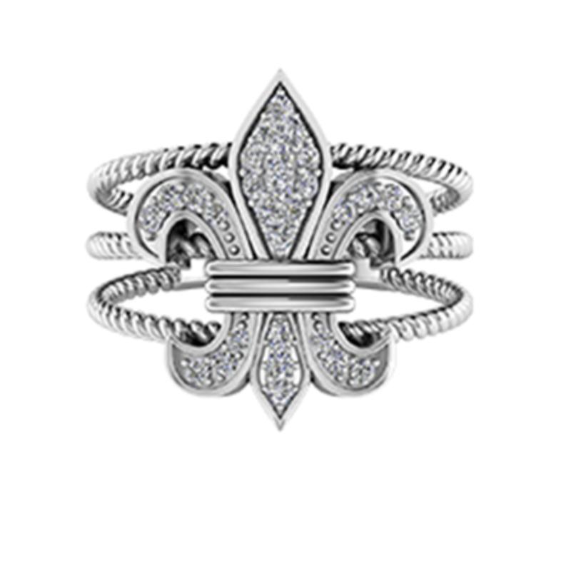 Shefi Diamonds FLEUR DE LIS OPEN THREE CABLE RING