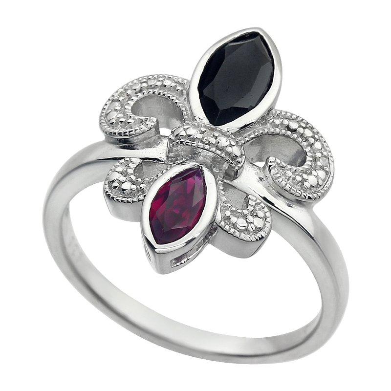 Ron's  Diamond, Ruby and Onyx Gemstone Fleur De Lis Ring