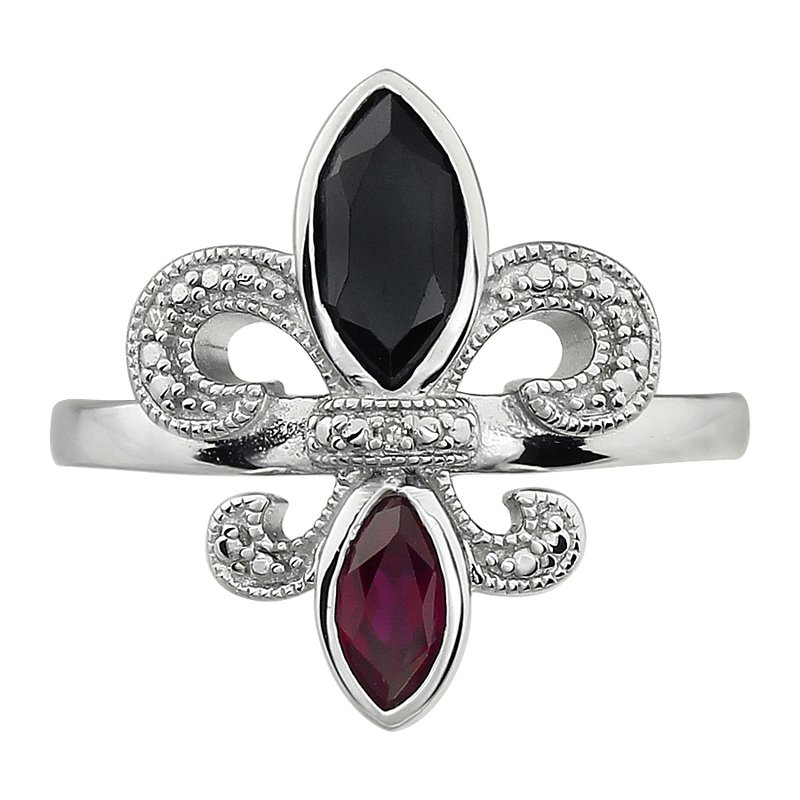 Ron's  Diamond, Ruby and Onyx Gemstone Fleur De Lis Ring