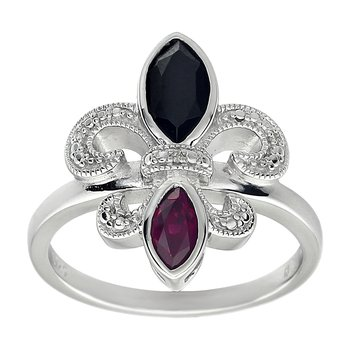 Diamond, Ruby and Onyx Gemstone Fleur De Lis Ring