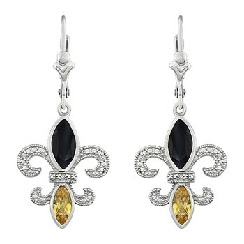 Diamond, Onyx & Citrine Gemstone Fleur De Lis Dangle Earrings