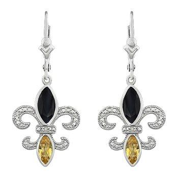 Diamond, Onyx & Citrine Gemstone Fleur De Lis Dangle Earrings