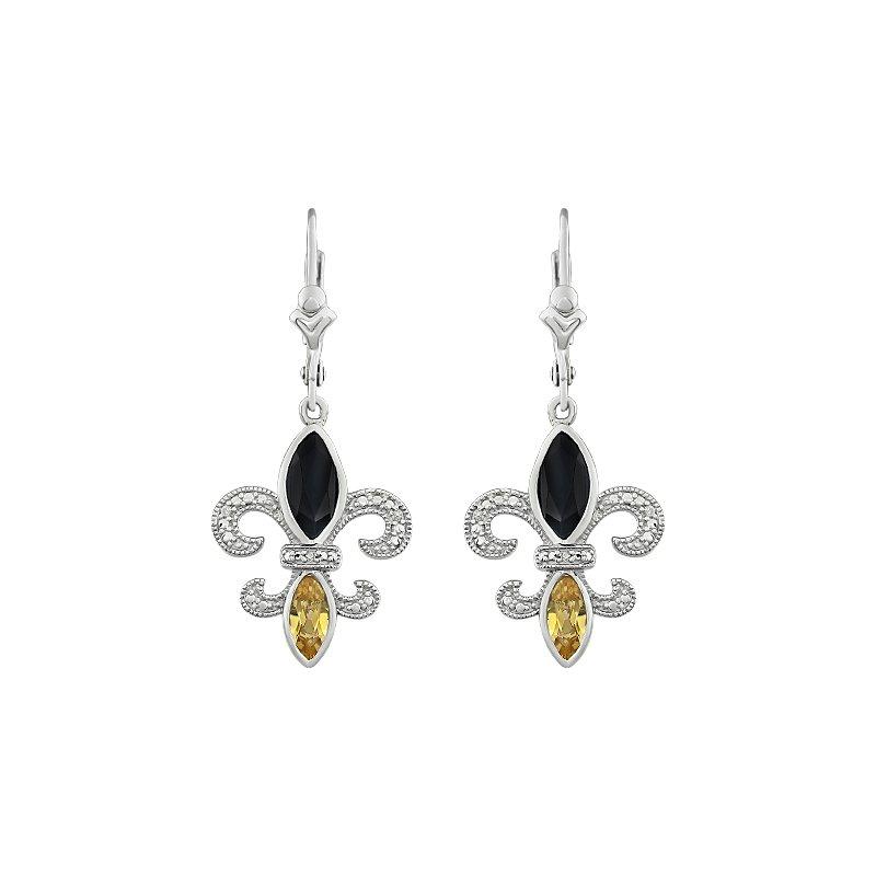 Ron's  Diamond, Onyx & Citrine Gemstone Fleur De Lis Dangle Earrings