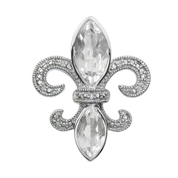 Diamond, Clear Quartz Gemstone Fleur De Lis Pendant