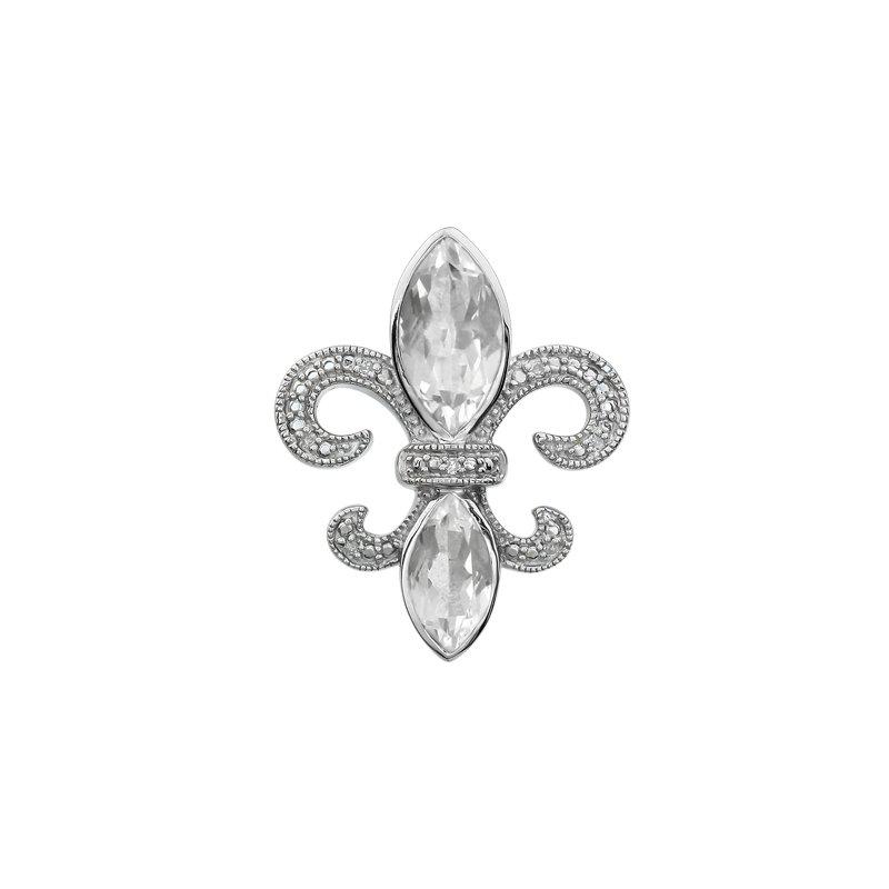 Ron's  Diamond, Clear Quartz Gemstone Fleur De Lis Pendant
