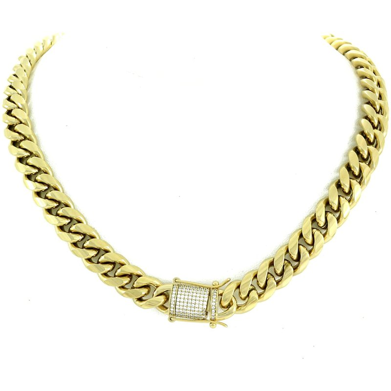 Custom Jewelry Cuban Link Chain with Diamond Lock