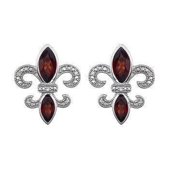 Diamond, Ruby Fleur de Lis Earrings